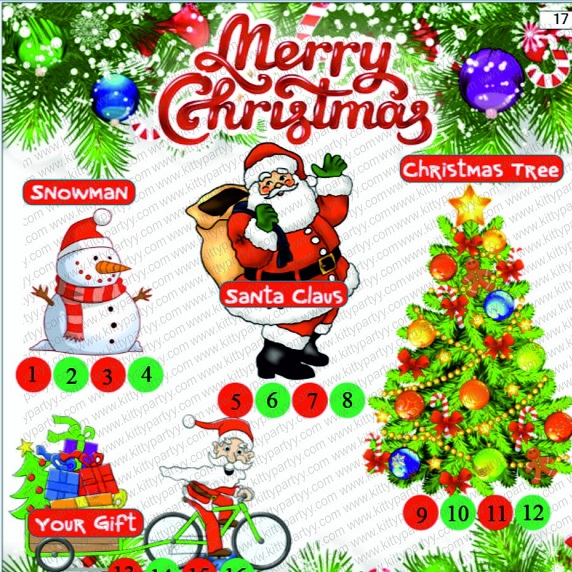 Christmas Theme Tambola Tickets: Kitty Party Games