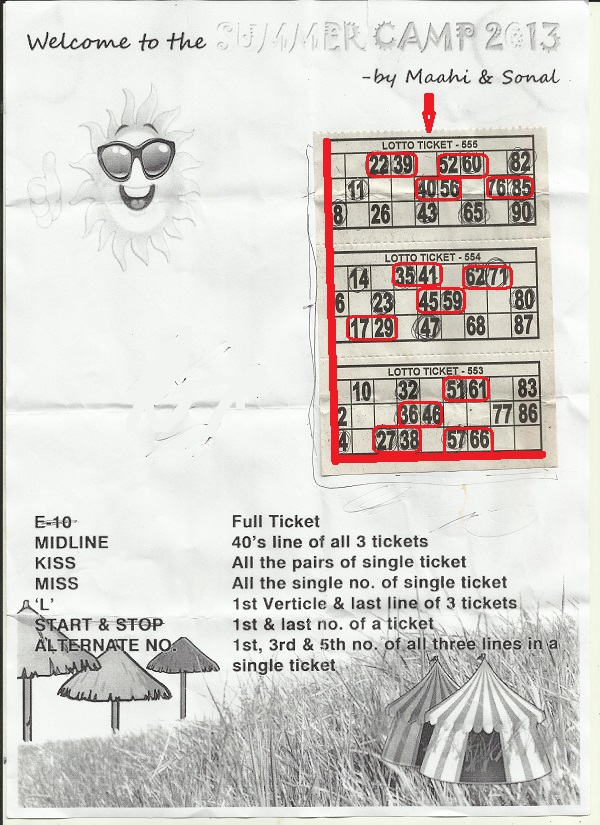 summer camp tambola ticket