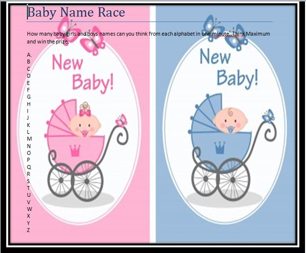 Free Printable Baby Shower Games : Babies Names Race