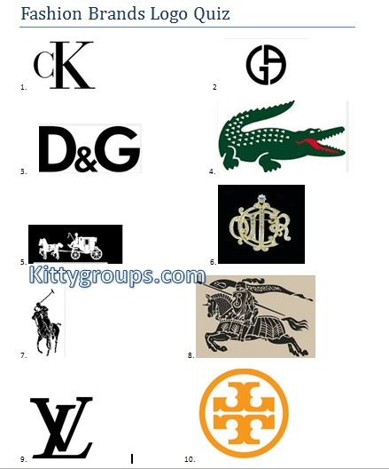 Guess the Fashion Brands: Ladies kitty party paper game