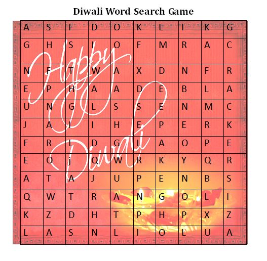 Diwali Party Games : Word Search Game for Diwali Kitty Party