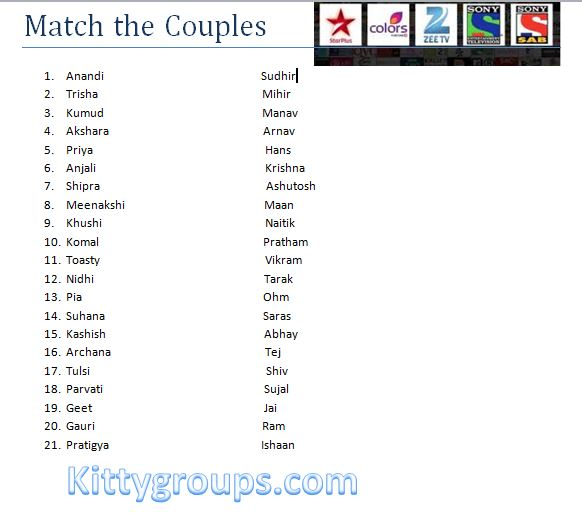 Kitty Party Paper Game In Hindi : Match The On-Screen Couples