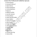 Paper Party Games : Guess The Hollywood Celebrity Spouse