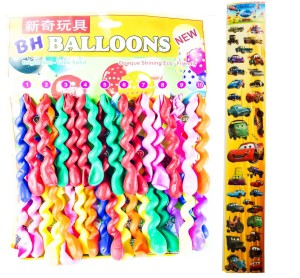 Spiral Long Birthday Party Balloons Assorted Colors: A Set Of 38