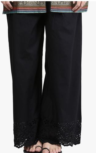 Black Cotton Palazzo Pants Frm Piku Movie