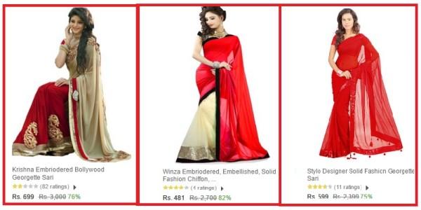 red sari on karva chath