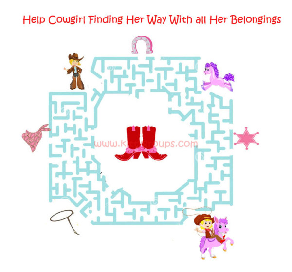 Help Cowgirl Finding Way: Paper Game For Cowgirl Theme Kitty Party
