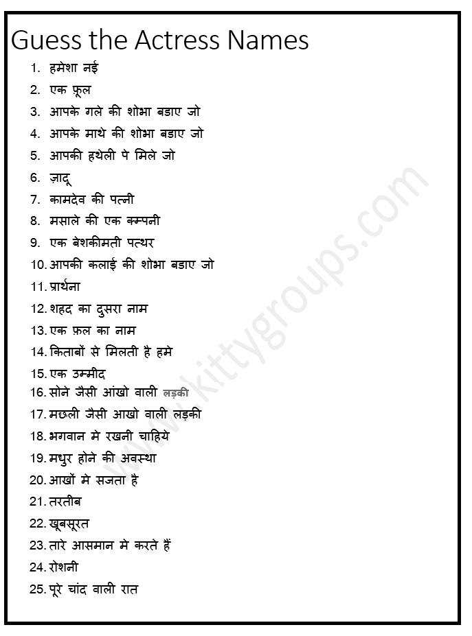 Hindi Ladies Kitty Party Game