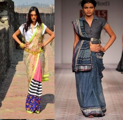 saree with a belt