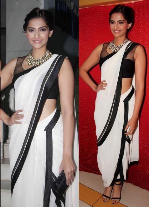 sonam kapoor dhoti style saree draping