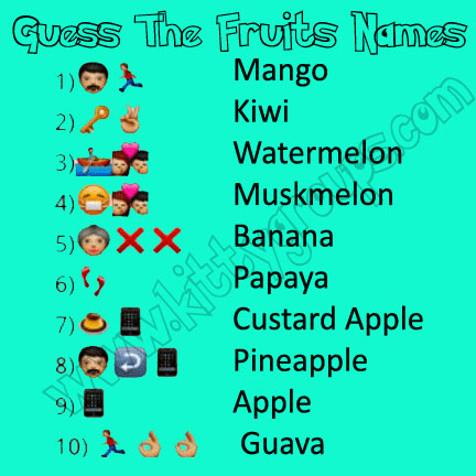 whatsapp puzzle guess the fruits names answers