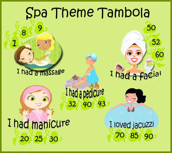spa theme tambola game for kitty party with numbers